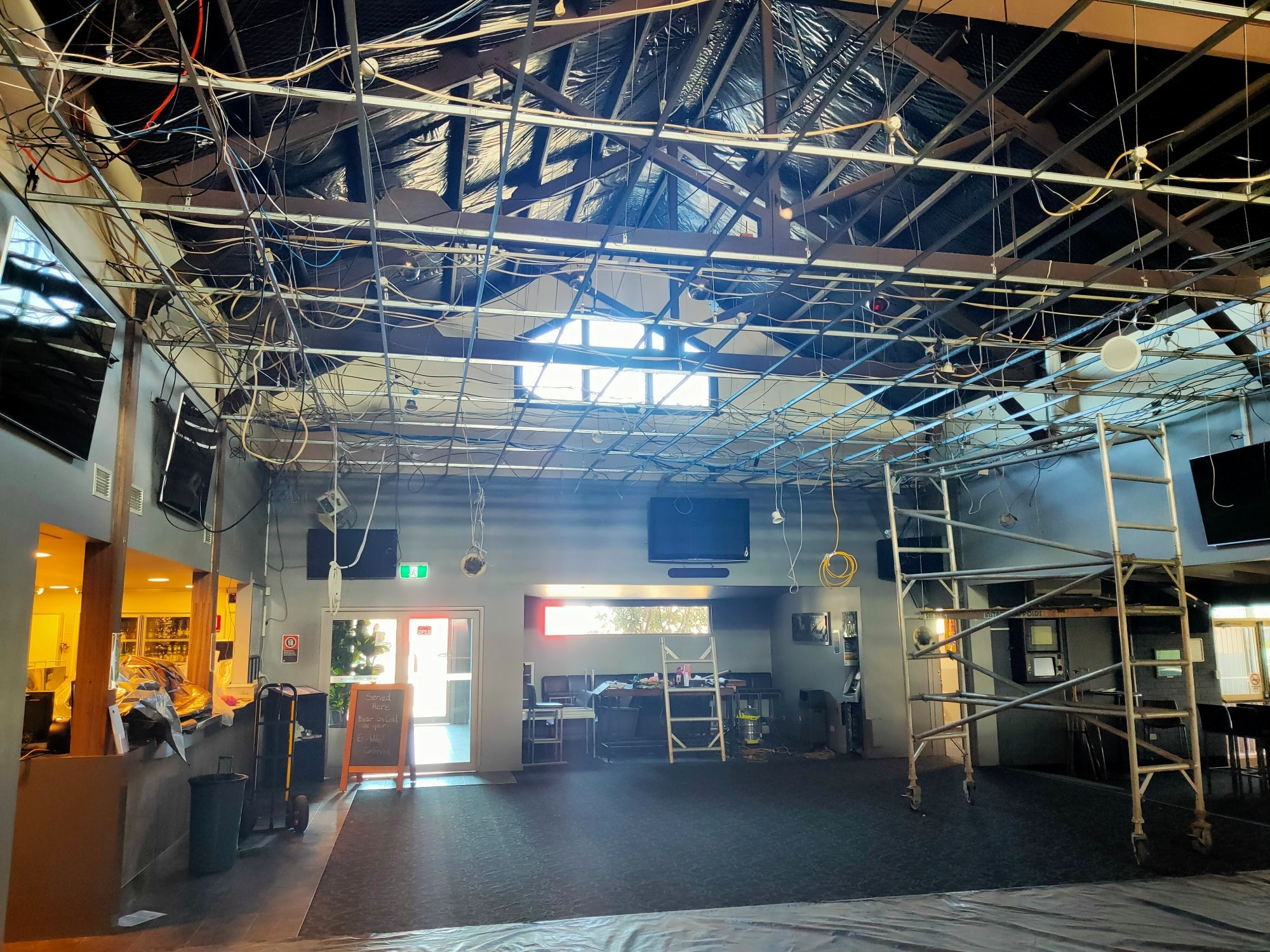Main Bar ceiling removal